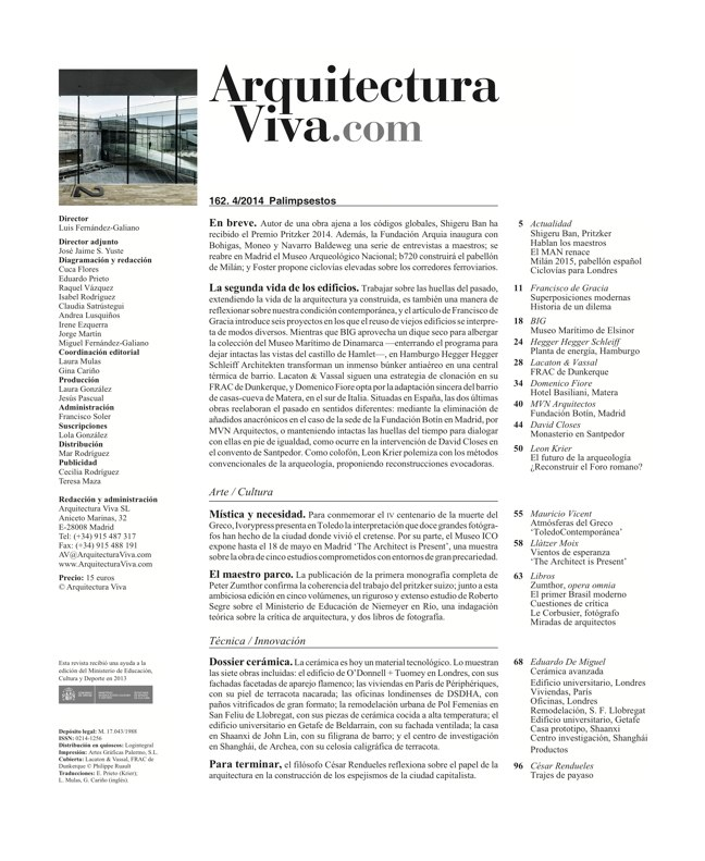 Arquitectura Viva 162 Palimpsests. Extending the Life of Buildings - Preview 1