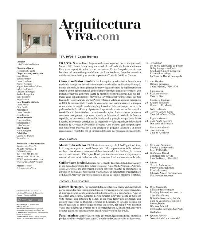 Arquitectura Viva 167 IBERIAN HOUSES · CASAS IBÉRICAS - Preview 1