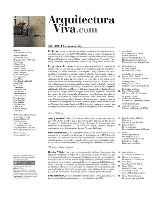 Arquitectura Viva 168 MASS IS MORE. THERMAL INERTIA AND SUSTAINABILITY - Preview 1
