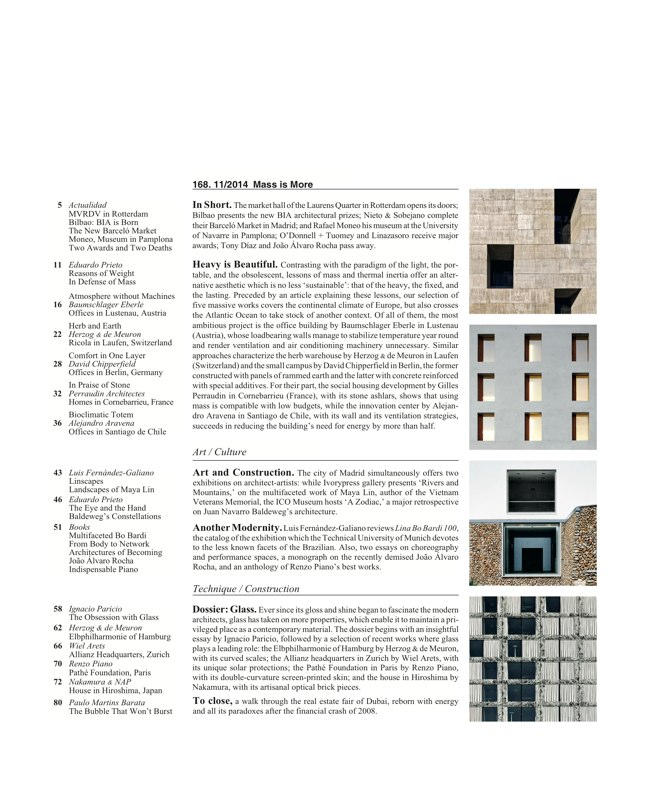Arquitectura Viva 168 MASS IS MORE. THERMAL INERTIA AND SUSTAINABILITY - Preview 2