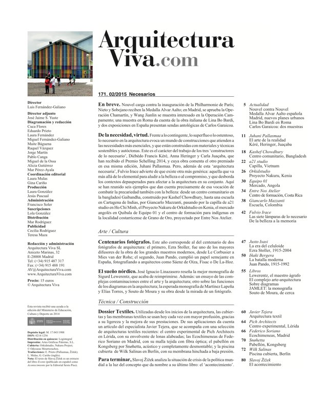 Arquitectura Viva 171 NECESSARY BUILDERS - Preview 1
