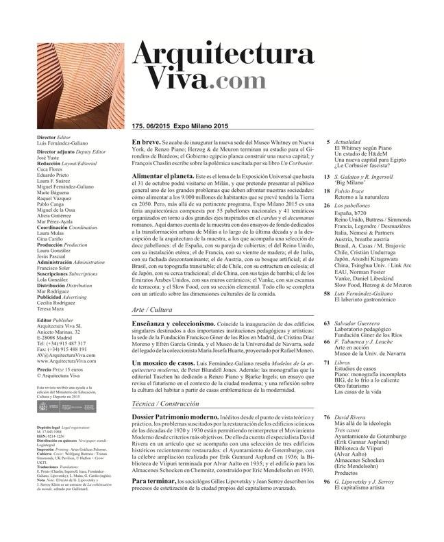 Arquitectura Viva 175 EXPO MILANO 2015 - Preview 1