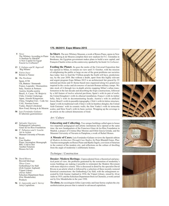 Arquitectura Viva 175 EXPO MILANO 2015 - Preview 2