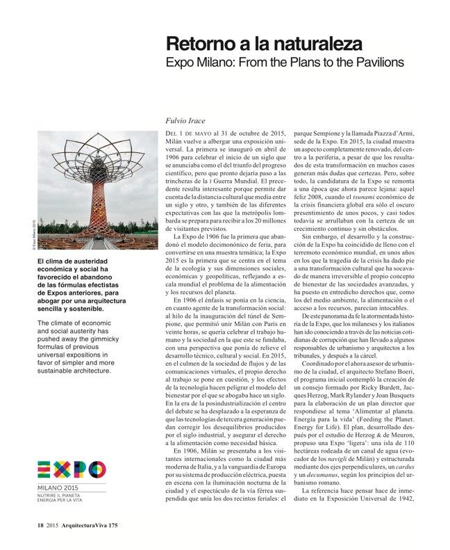 Arquitectura Viva 175 EXPO MILANO 2015 - Preview 5