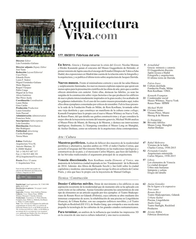 Arquitectura Viva 177 ART FACTORIES - Preview 1
