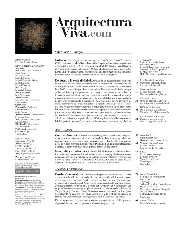 Arquitectura Viva 178 Energy Matters - Preview 1