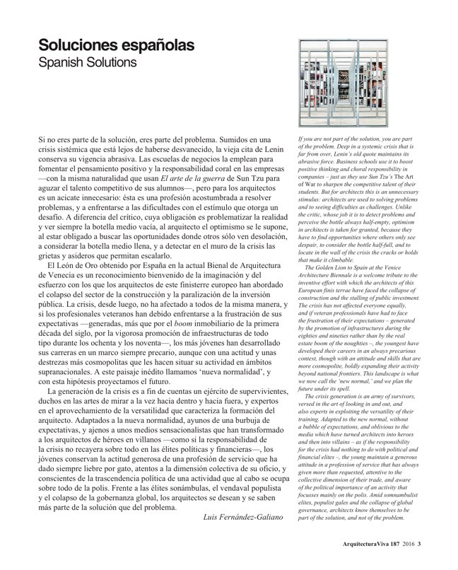 Arquitectura Viva 187 Spanish Solutions. Under 50, the Crisis Generation - Preview 3