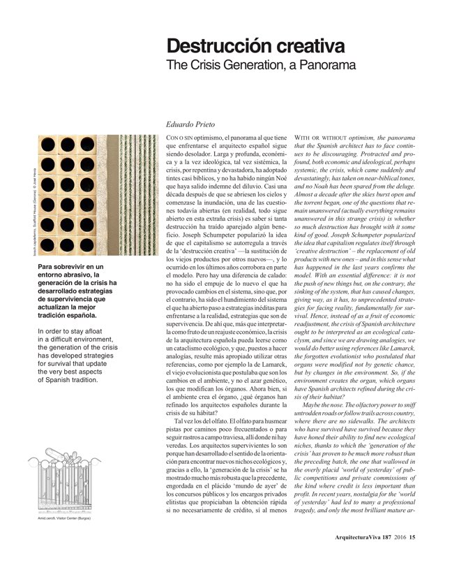 Arquitectura Viva 187 Spanish Solutions. Under 50, the Crisis Generation - Preview 6