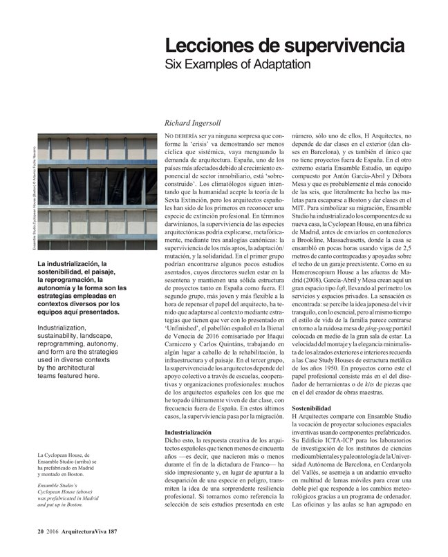 Arquitectura Viva 187 Spanish Solutions. Under 50, the Crisis Generation - Preview 7