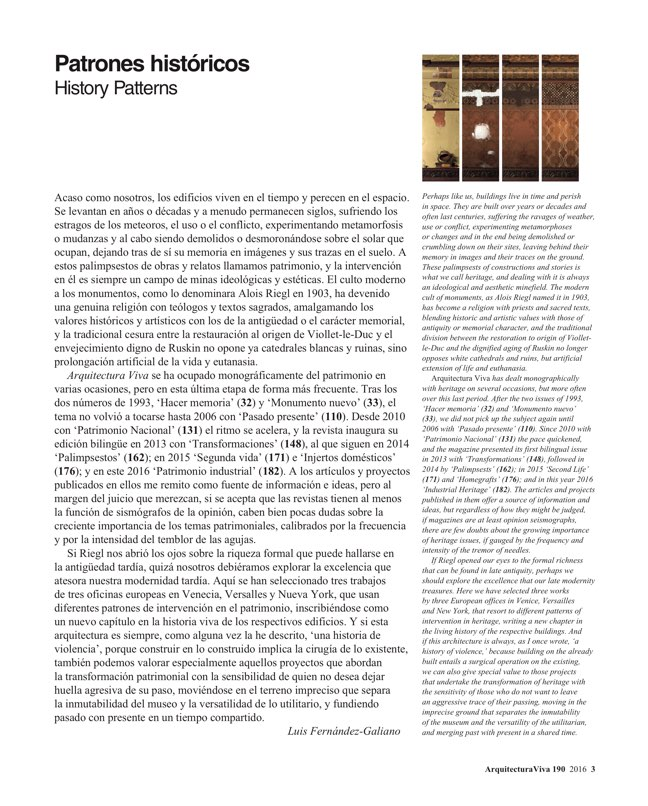 Arquitectura Viva 190 History Patterns - Preview 2