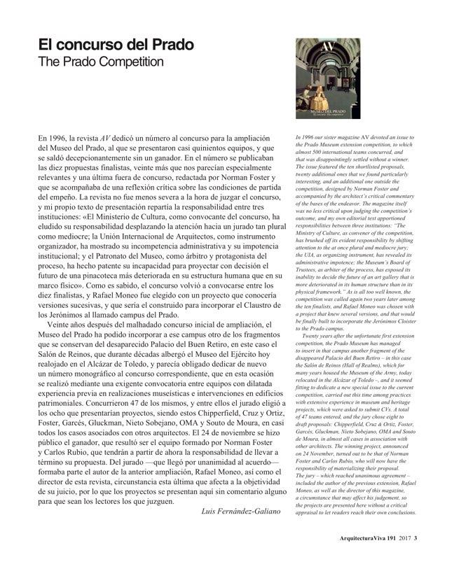 Arquitectura Viva 191 The Prado Competition - Preview 3