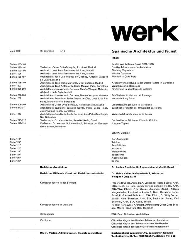 WERK 6/62 UN RETRATO DE ESPAÑA (SPANISCHE ARCHITEKTUR UND KUNST) - Preview 1