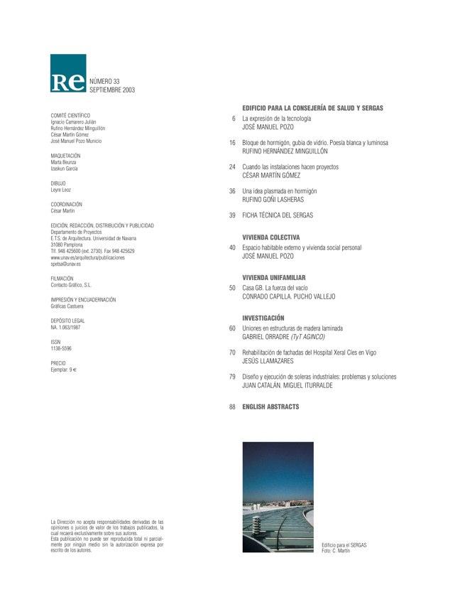 RE 33 Revista de Edificación EDIFICIO PARA LA CONSEJERÍA DE SALUD Y SERGAS - Preview 1