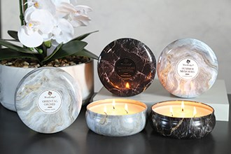 Marble Candle Tins