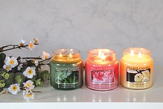NEW - Glass Lid Village Candle