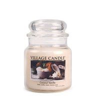Coconut Vanilla Village Candle 16oz Scented Candle Jar - Glass Dome Lid