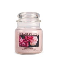 Fresh Cut Peony Village Candle 16oz Scented Candle Jar - Glass Dome Lid