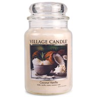 Coconut Vanilla Village Candle 26oz Scented Candle Jar - Glass Dome Lid