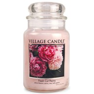Fresh Cut Peony Village Candle 26oz Scented Candle Jar - Glass Dome Lid