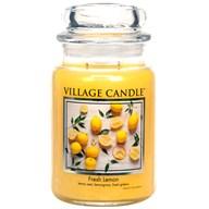 Fresh Lemon Village Candle 26oz Scented Candle Jar - Glass Dome Lid