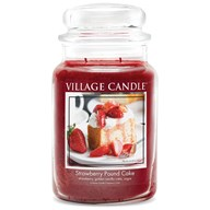 Strawberry Pound Cake Village Candle 26oz Scented Candle Jar - Glass Dome Lid