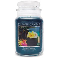 Tropical Getaway Village Candle 26oz Scented Candle Jar - Glass Dome Lid