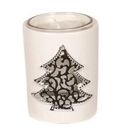 White Ceramic Christmas Tree Votive Holder 8cm
