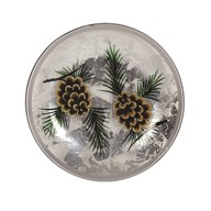 Gold Pinecone Candleplate 16cm