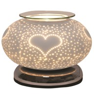 Electric Wax Melt Burner Touch - White Satin Burst Heart Ellipse