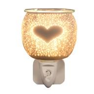 Wax Melt Burner Plug In - White Satin Burst Heart