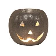 Wax Melt Burner - Pumpkin Round Silver