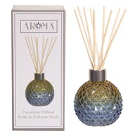 Blue & Amber Glass Reed Diffuser & 50 Rattan Reeds