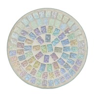 Candle Plate - Ice White Lustre Mosaic