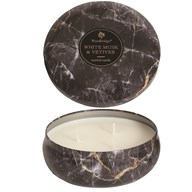 Woodbridge Marble Candle Tin - White Musk & Vetiver
