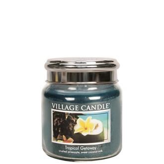 Tropical Getaway Village Candle 16oz Scented Candle Jar  - Metal Lid