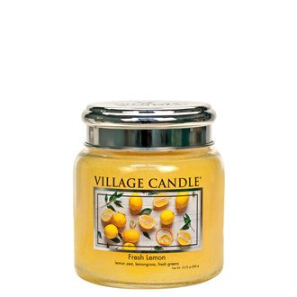 Fresh Lemon Village Candle 16oz Scented Candle Jar  - Metal Lid