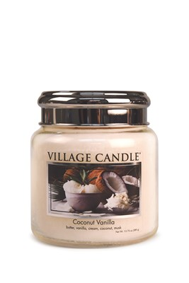 Coconut Vanilla Village Candle 16oz Scented Candle Jar  - Metal Lid