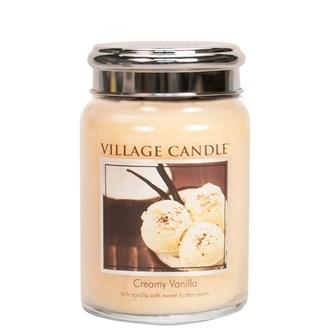 Creamy Vanilla Village Candle 26oz Scented Candle Jar  - Metal Lid