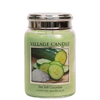Sea Salt Cucumber Village Candle 26oz Scented Candle Jar - Metal Lid