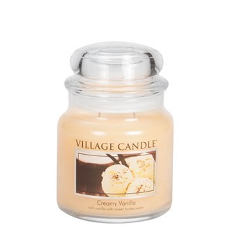 Creamy Vanilla Village Candle 16oz Scented Candle Jar - Glass Dome Lid
