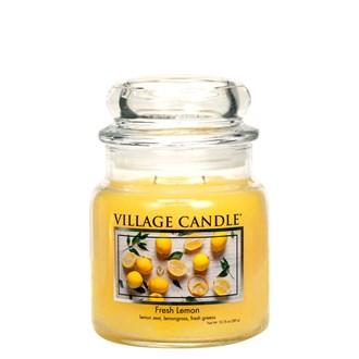 Fresh Lemon Village Candle 16oz Scented Candle Jar - Glass Dome Lid