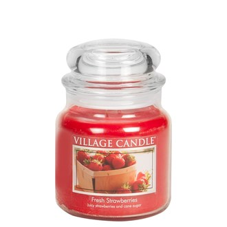 Fresh Strawberries Village Candle 16oz Scented Candle Jar - Glass Dome Lid