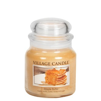 Maple Butter Village Candle 16oz Scented Candle Jar - Glass Dome Lid