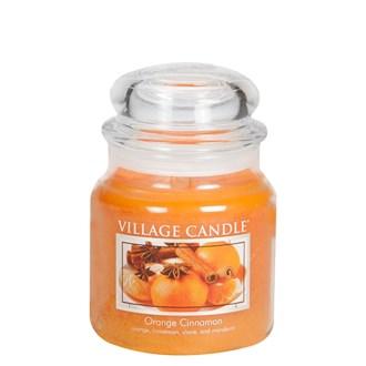Orange Cinnamon Village Candle 16oz Scented Candle Jar - Glass Dome Lid