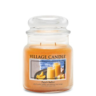 Peach Bellini Village Candle 16oz Scented Candle Jar - Glass Dome Lid