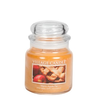 Warm Apple Pie Village Candle 16oz Scented Candle Jar - Glass Dome Lid