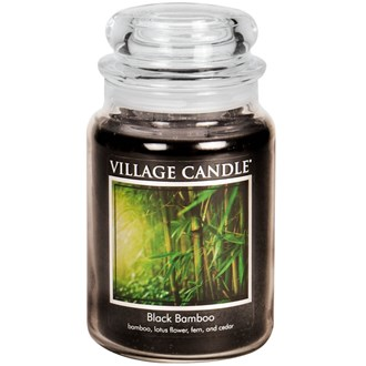 Black Bamboo Village Candle 26oz Scented Candle Jar - Glass Dome Lid