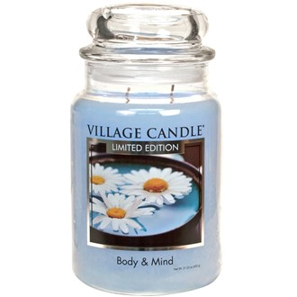 Body & Mind Village Candle 26oz Scented Candle Jar - Glass Dome Lid