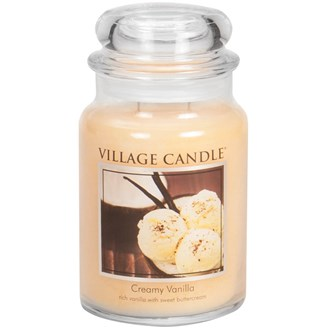 Creamy Vanilla Village Candle 26oz Scented Candle Jar - Glass Dome Lid