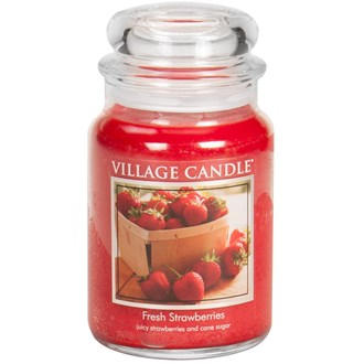 Fresh Strawberries Village Candle 26oz Scented Candle Jar - Glass Dome Lid